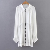 FREE SHIPPING Spring wear new loose a row of lanterns sleeve shirt style dress