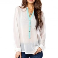 Paloma Chiffon Blouse in Ivory with Mint Trim - ShopSosie.com
