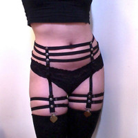 New fashion pastel goth Women foot strap bondage  studded Garter belt sexy lingerie clips suspender belt stocking retail