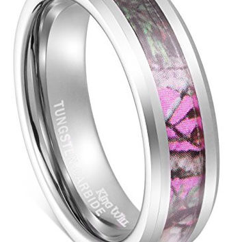 King Will 6mm Elegant Women's Hunting Camo Camouflage Pink/Rose/Green Tungsten Carbide ring Wedding Band (7)
