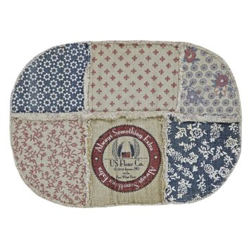 Millie Patchwork - Vintage Flour Sack - Reverse Seam Patches - Oval - 46 x 70 - Rug