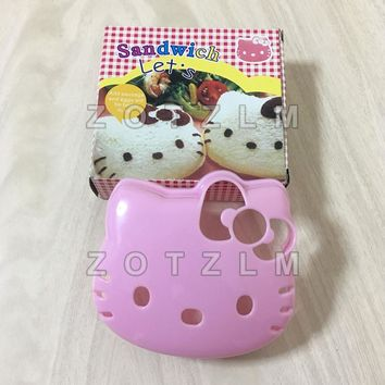 Cute Hello Kitty Shaped Plastic Sandwich Cookie Mold Toast Bread Cake Pastry Onigiri Pressing Tools Cartoon Cat Series SLP083