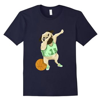 Funny Dabbing Basketball Pug Dog Lover Graphic Tshirt Tee