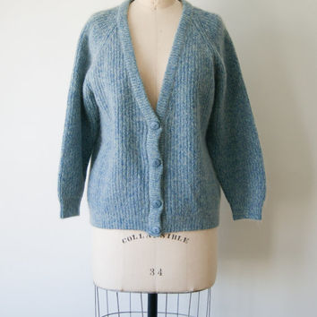 Vintage Cardigan Sweater. Women's Mohair Sweater. Men's Long Blue Cardigan. Cozy Sweater. Medium.