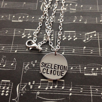 Twenty One Pilots Skeleton Clique Hand Stamped Necklace