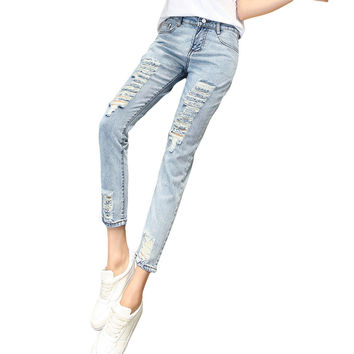 2017 New Skinny Women Jeans Fashion Loose High-waist Pencil Pants Casual Washed Hole Ripped Boyfriend Female Stretch Denim Pants