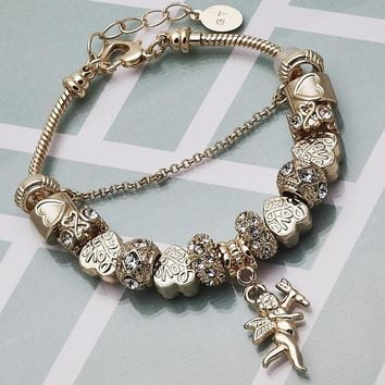 Gold Layered Women Angel Charm Bracelet, with White Crystal, by Folks Jewelry