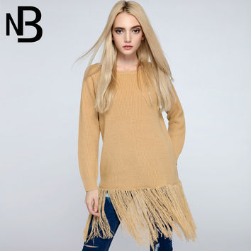 Tassels Knit Tops Autumn Round-neck Pullover Long Sleeve Sweater One Piece Dress Fall Fashion [8906288647]