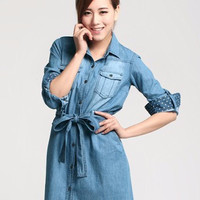 Long Sleeve Double Pocket Waist Tie Denim Mini Dress