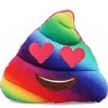 Tie Dye Emoji Poop Pillow (Heart Eyes)