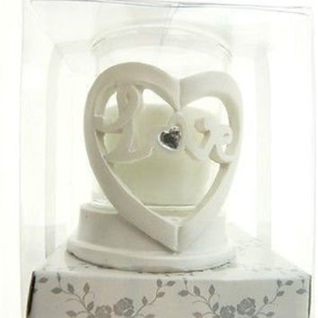 Wedding Bridal Shower Anniversary Party Favor Souvenir Gift Keepsake Ready Made, Votive Candle, Love with Heart