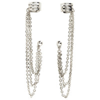 H&M - Earrings with Ear Cuffs - Silver - Ladies
