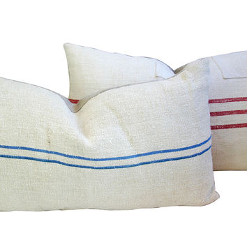 French  Grain Sack  & Linen Pillows, Pr