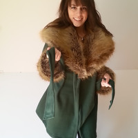 Faux Fur Coat, Fur Coat, Womens Winter Coats Jackets, Fleece Jacket, Medium Womens Outerwear, Dark Green w Oversized Faux Fur Collar & Cuffs
