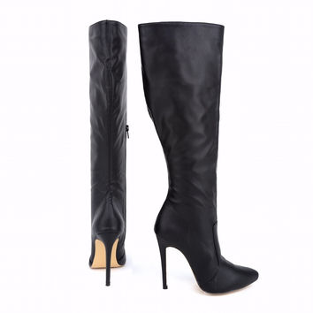 Women's Sexy Leather Knee High High Heel Wide Calf Plush Lined Boots