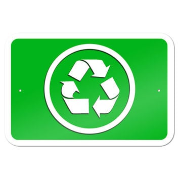 "Recycle 9"" x 6"" Metal Sign"