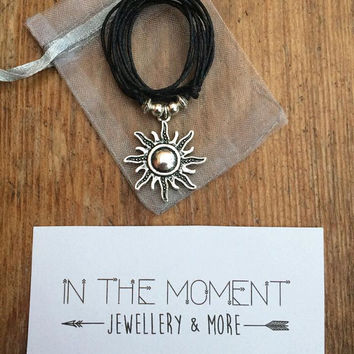 Sun Necklace, Adjustable Black Cord Necklace, Sun Choker, Choker Necklace, Hipster, Festival Choker, Grunge, Indie, Bohemian Jewellery