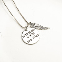 Stylish Shiny Jewelry with Brare Wings She Flies Necklace [8026332423]