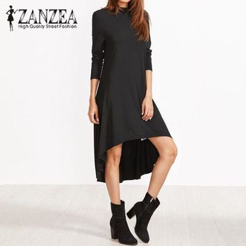 PEAP78W 2017 Autumn ZANZEA Women Turtleneck Long Sleeve Irregular Hem Loose Black Dress Casual Evening Party Long Vestido Plus Size