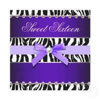 Purple Zebra Sweet 16 Birthday Party Personalized Invitations from Zazzle.com