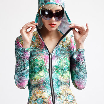 Diamond Dream Shamen Reflective Print Multicolor Pastel Yoga Suit