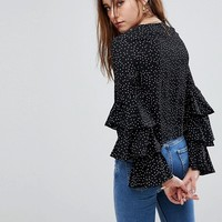 Glamorous Petite Top With Ruffle Layer Sleeves In Spot at asos.com