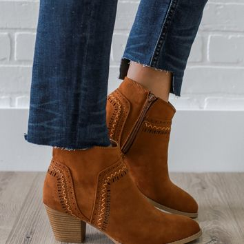 Chasing Sunset Skies Booties - Cognac