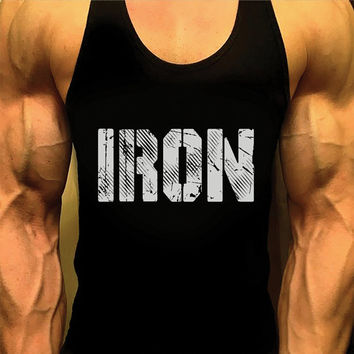 Mens Shirt. Mens Workout Tank Top. Gym Shirt. Iron. Gym Clothes. Singlet Tank. Racerback. Bodybuilding Tank. Stringer Tank