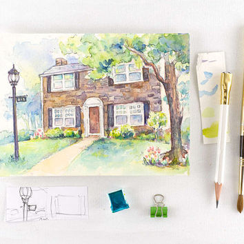 First Home Gift - Custom Home Watercolor Painting - Personalized Housewarming Gift - House Portrait Painting - Our First Home