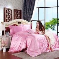100% Pure Satin Silk Bedding Set Bed Cover King Size Bed Set Bedclothes Duvet Cover Flat Sheet Pillowcases Home Textile