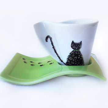 Porcelain Coffee Cup, Cat lovers cup, Hand Painted, Green, Espresso Cup