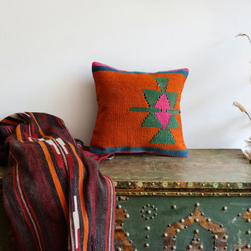 Handwoven Anatolian Kilim Pillow Cover - Orange Kilim Pillow - 16x16 inch