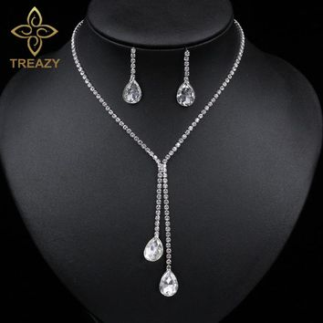 TREAZY Bride Silver Plated Water Drop Crystal Necklace Earrings Set for Women Rhinestone Bridal Bridesmaid Wedding Jewelry Set
