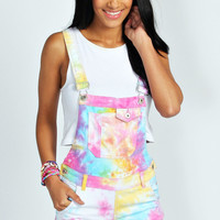Sienna Multi Coloured Tie Dye Dungaree Shorts