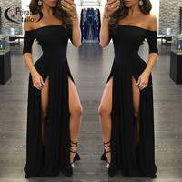 Women Slash neck Black dress  Female off shoulder Maxi long Dress Side Split  Sexy Clubwear Party Dresses