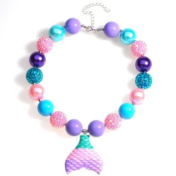 Mermaid Tail Pendant Chunky Bead Necklace Girls Bubblegum Necklace Handmade Toddler Necklace Party Favors Birthday Gift for Kids
