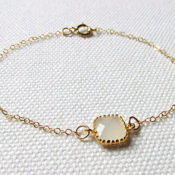 White Square Bracelet Cloudy White Glass Stone Minimal Delicate Bracelet  Gold Plate or Gold Filled Chain Gift For Her