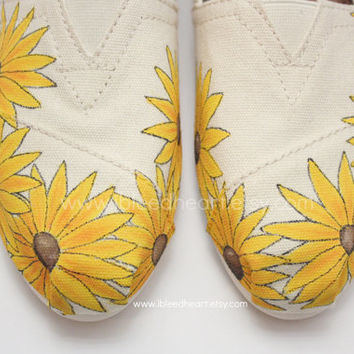 Custom Painted TOMS Shoes - Yellow Sunflower Fields - Adult