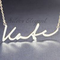 Personalized Name Necklace - Mom Gift - Word Letters -Signature Font - 18K Gold Plated