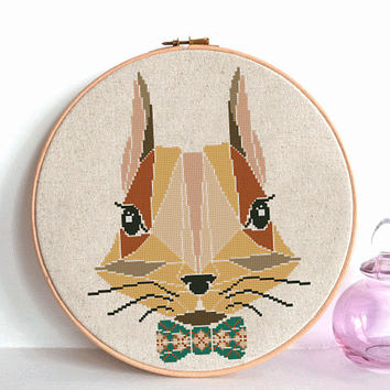 Geometric Hare rabbit Cross Stitch pattern, Hare rabbit Pattern, Forest Woodland Animals, Modern Cross Stitch, Animal Cross Stitch flower