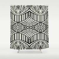 Geometric in Black and Beige Shower Curtain by House of Jennifer