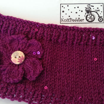 SALE** Knitted Sequin Earwarmer/Headband with Flower in Merlot Yarn Wooden Button Closure