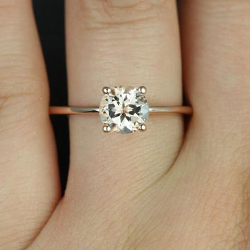Skinny Alberta 7mm 14kt Rose Gold Round Morganite Tulip Solitaire Engagement Ring (Other metals and stone options available)