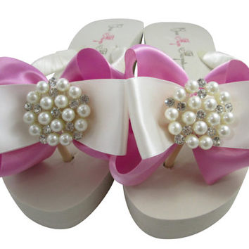 Bridal Flip Flops, Wedding Flip Flops with Pearl Bling Satin Bows- Bubblegum/many colors, Bridesmaid Sandal Thongs, Shoes
