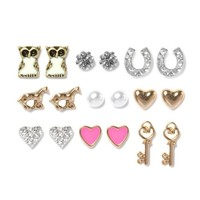 Luck and Love Stud Earrings Set of 9  | Icing