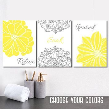 Yellow Gray BATHROOM DECOR, CANVAS or Prints, Flower Bathroom Wall Art, Relax Soak Unwind, Bathroom Quote Wall Decor, Set of 3 Bath Decor