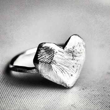 Hand Carved Faceted Organic Heart Ring in Sterling Silver