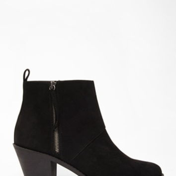 Zip-Side Faux Suede Booties (Wide)