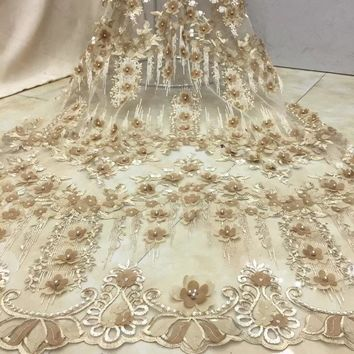 High Quality Nigerian 3D Wedding Lace Fabric gold Latest African Laces 2018 French Net Lace Fabric With Beaded for Dress IG934