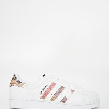 adidas Originals White Superstar With Floral Trim Trainers
